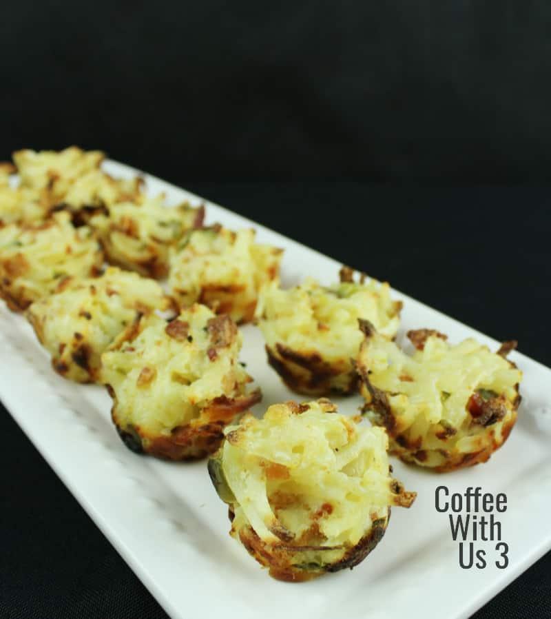 Jalapeno Popper Hash Brown Bites on a white platter