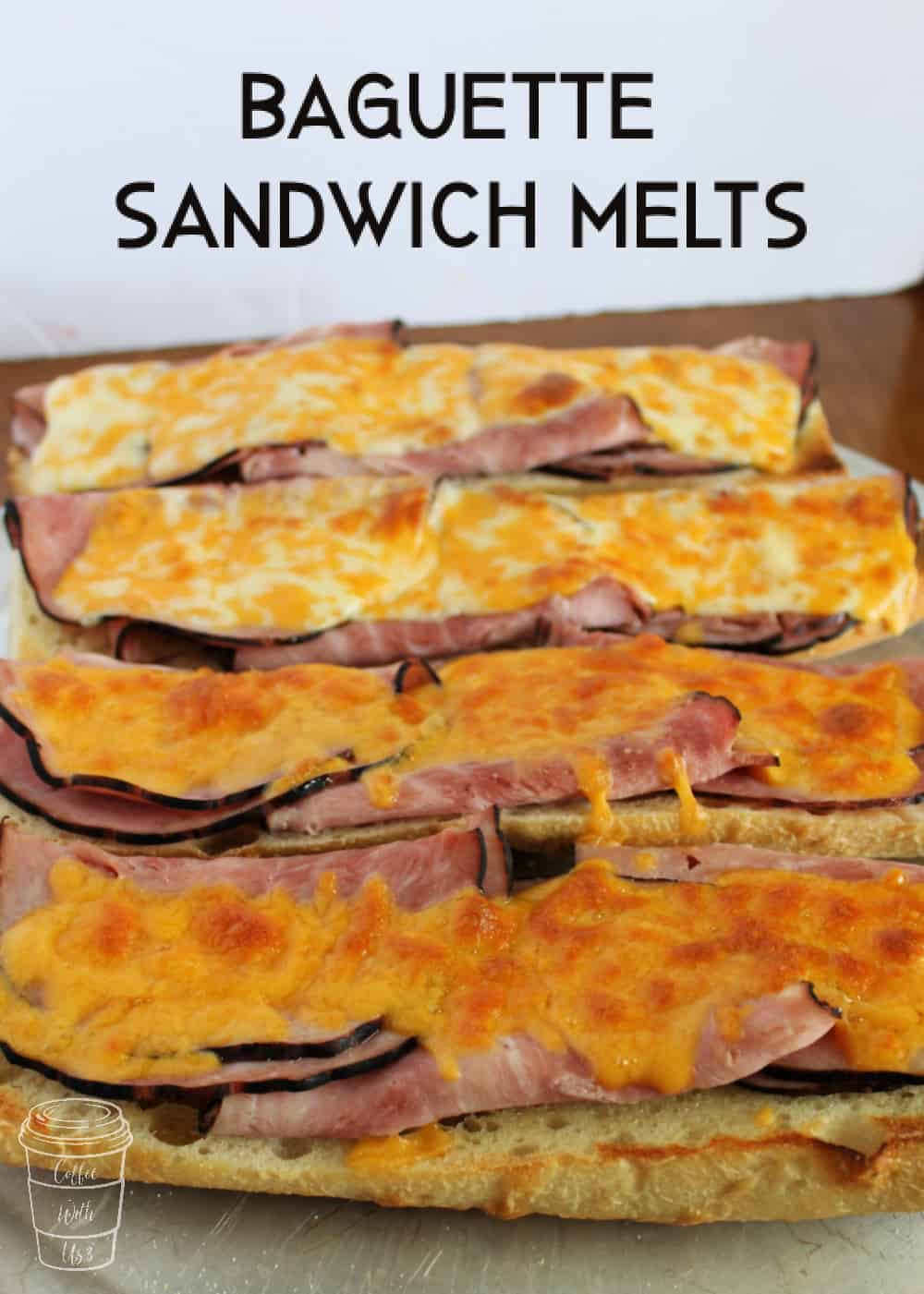 Melted cheese covering Baguette Sandwich Melts