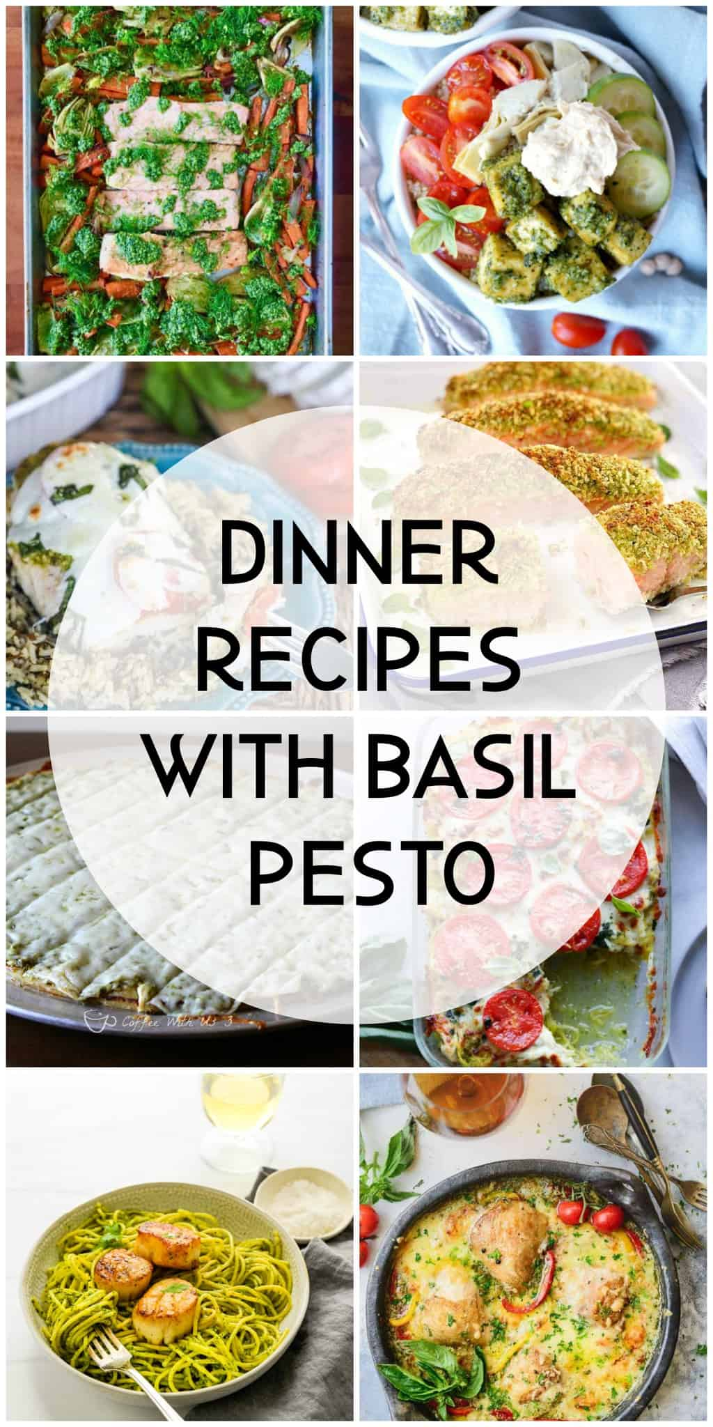 Collage of dinner recipes made with basil pesto